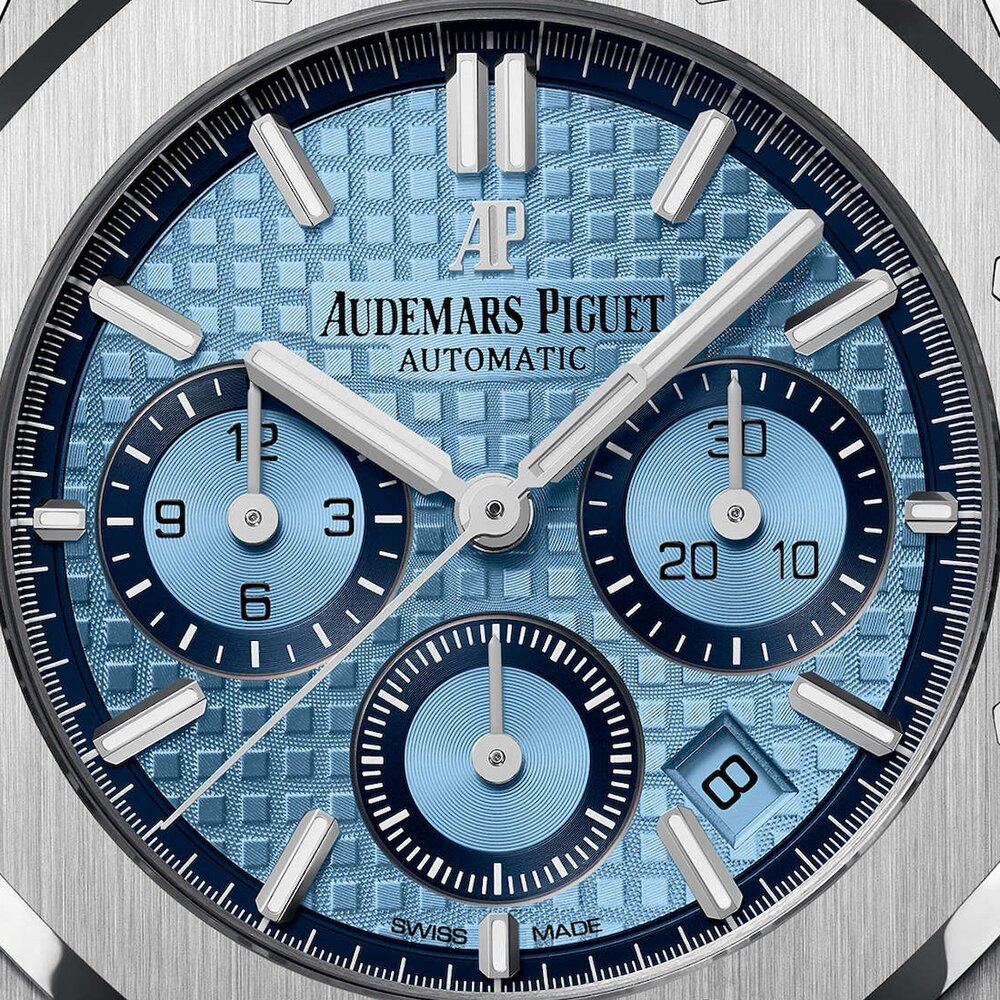 Replica Audemars Piguet Royal Oak Chrono Oro Blanco Azul Hielo